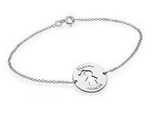 N28 - 925 Sterling Silver Girl / Boy Name & Birth Date Bracelet