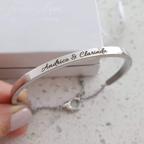 CBA102067 - Personalized Bangle, Stainless Steel, adjustable