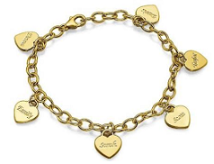 N957 - 18K Gold Plated Personalized Family Names, Dangle Hearts Bracelet