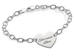N299 - 925 Sterling Silver Personalized Names / Words Heart Bracelet