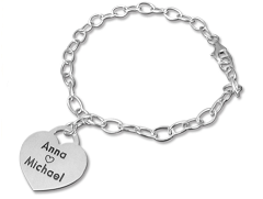 N172R - Sterling Silver Couples Names Bracelet