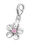 C441-C874 - 925 Sterling Silver Flower with Stone Dangle Charm