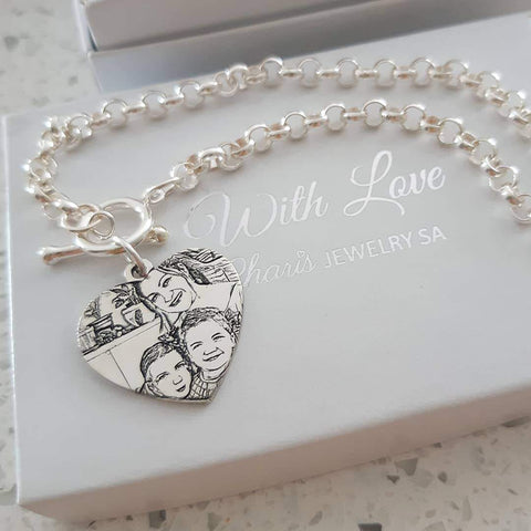Silver personalized photo bracelet