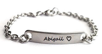 EJ44 - Personalized Name Bracelet, sizes children to adults, Stainless Steel