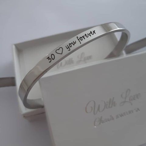 Personalized stainless steel cuff bangles online store in SA