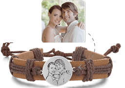 SJYKSL06 - Men's Silver & Leather Personalized Photo Bracelet, Adjustable size