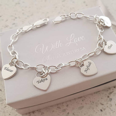 N107 - 925 Sterling Silver Family Names, Dangle Hearts Bracelet, adjustable