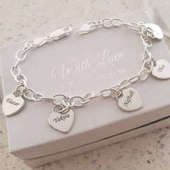 Personalized hearts bracelet