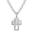 C378-C33280 - 925 Sterling Silver CZ Small 6x7mm Cross Necklace