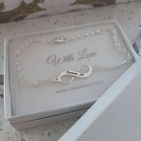 N81 - 925 Sterling Silver Personalized Infinity Bracelet