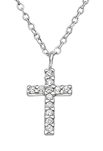 C682-C33282 - 925 Sterling Silver CZ Cross Necklace