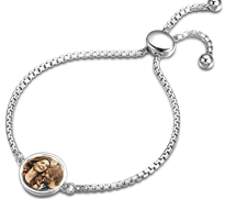 SJSL038A - Sterling Silver Personalized Photo Bracelet, Adjustable size