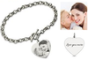 CAS101793 - 925 Sterling Silver Personalized Engraved Heart Photo Bracelet