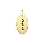 N524 - Gold Plated Personalized Oval Disc Charm for DIY Necklace