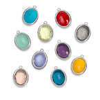 N513 - Glass Stone with Silver Frame Charm for DIY Necklace