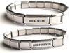 CB1 - Set of 2 Personalized Couples Italian Charm Bracelets, Stainless Steel