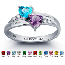 N270 - 925 Sterling Silver Personalized Couples Names & Birthstones Ring (Size 6-11)