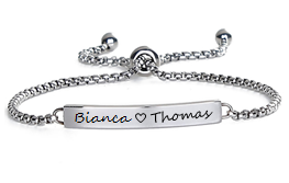 EJ108-CB0082431 - Couples Names Personalized Bracelet, Stainless Steel Adjustable Slide