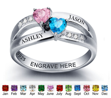 N275 - 925 Sterling Silver Personalized Couples / Promise Ring
