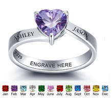 N274 - 925 Sterling Silver Personalized Couples Names Heart Ring