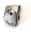 P2 - Personalized Custom Italian Charm Heart Dangle, Stainless Steel (fits all popular brands)