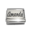 P1 - Personalized Custom Name Italian Charm, Stainless Steel (Fits all popular brands)