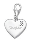 C381-C872 - 925 Sterling Silver Personalized Heart Dangle Charm