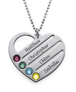 N129 - Sterling Silver Personalized Necklace with Family Names & Birthstones