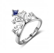 N782 - 925 Sterling Silver Personalized Couples Names & Birthstones Crown Ring