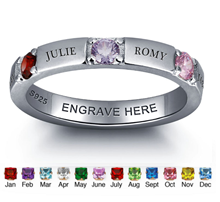 N273 - 925 Sterling Silver Personalized Family Names & Birthstones Ring