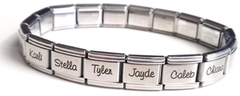 EST13 - Personalized Family Names Bracelet, Stainless Steel