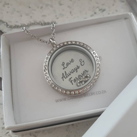 FL1+FLPD4+FLC14 - Floating Locket Necklace with Personalized Plate & Infinity
