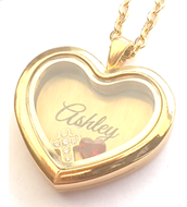 FL19 - Personalized Name Floating Locket Necklace, in silver or gold with any 2 floating pieces
