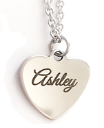 EJ38 - Beautiful Personalized Heart Name Necklace, Silver Stainless Steel