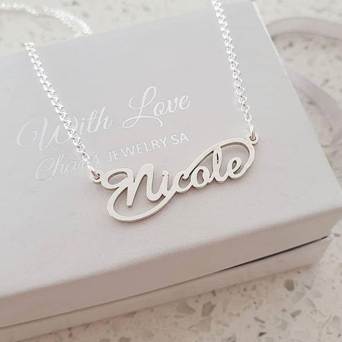 N788 - 925 Sterling Silver Personalized Infinity Name Necklace