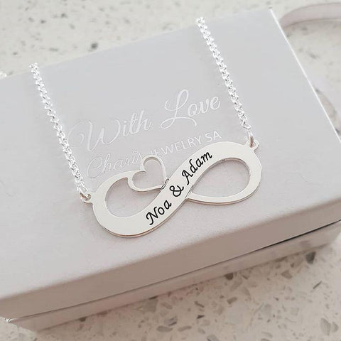 N476 - 925 Sterling Silver Personalized Infinity Necklace with Cut Out Heart