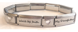 EST14 - Personalized Wording Double Link Italian Charm Bracelet, Stainless Steel.