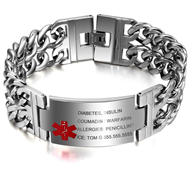 EJ100 - Personalized Titanium Steel Medical Alert Men's Bracelet