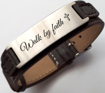 EJ130 - Personalized Stainless Steel Leather Strap, adjustable Kids, Ladies & Men