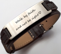 EJ131 - Personalized Stainless Steel Leather Strap, adjustable fit Kids, Ladies & Men