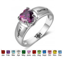 N307 - 925 Sterling Silver Personalized Names & Birthstones Ring