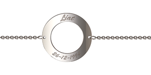 N111 - 925 Sterling Silver Personalized Wording Circle Bracelet