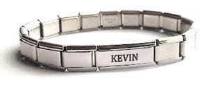 EST17 - Men's Personalized Name Italian Charm Bracelet (Matte Stainless Steel)