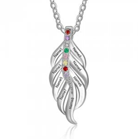 NJ203-CNE102649 Sterling Silver Feather Shape Family Necklace with Birthstones