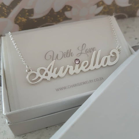 N14 - 925 Sterling Silver personalized name necklace with swarovski crystal birthstone
