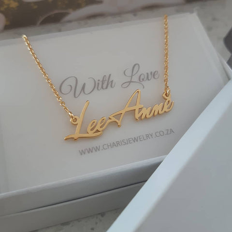 N45 - 14k Solid Gold Personalized Tiny Name Necklace
