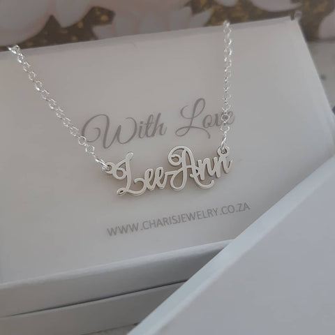 N1002 - 925 Sterling Silver Personalized Name Necklace, Script Style