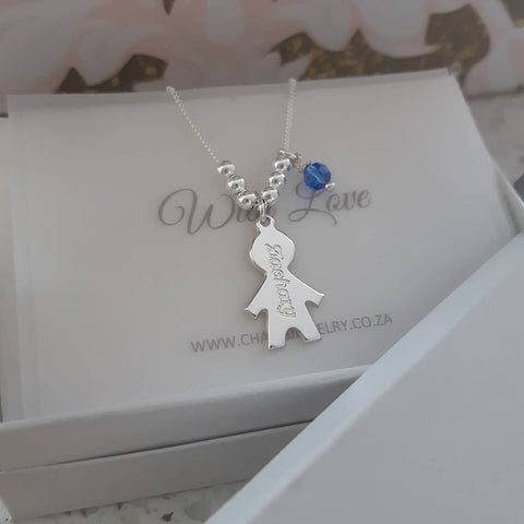 N220 - 925 Sterling Silver Personalized Mother's Necklace, Children's names and birthstones