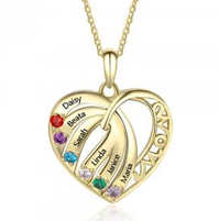 NJ209-CNE103024 Gold Plated Sterling Silver Mom Heart Necklace with Birthstones