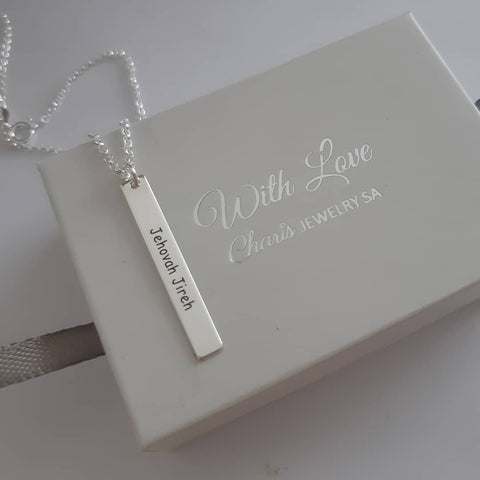 N134 - 925 Sterling Silver Personalized Bar Necklace